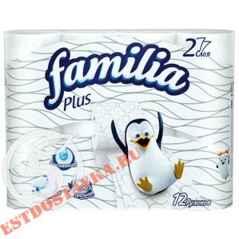 """Купить Бумага туалетная """"Familia Plus"""" белая 2 слоя 12шт"""