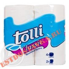 "Бумага туалетная ""Tolli"" Classic белая 2 слоя 4шт"