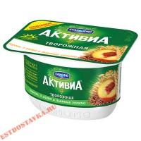 """Биопродукт творожный """"Активиа"""" персик, 3 злака, льняные семена 130г"""