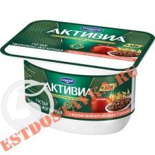 """Биопродукт """"Активиа"""" Творожная Печеное яблоко 3 злака и льняные семена 4.4% 130г"""