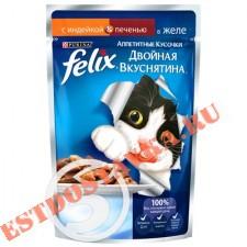 """Корм """"Felix"""" Аппетитные Кусочки С индейкой и печенью в желе для взрослых кошек 85г"""