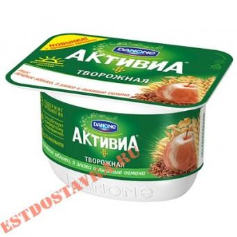 """Купить Биопродукт творожный """"Активиа"""" печеное яблоко, 3 злака, льняные семена 130г"""