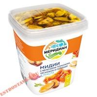 """Мидии """"Меридиан"""" в масле с вяленными томатами, чесноком и зеленью 415г"""