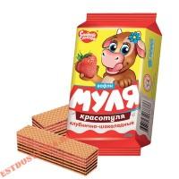 """Вафли """"Сладкая Слобода"""" Муля Красотуля клубнично-шоколадные 180г"""