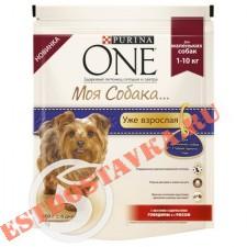 """Корм """"Purina One"""" Моя Собака со вкусом говядины и риса для взрослых собак мелкой породы 600г"""