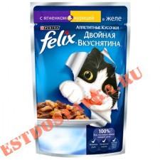 """Корм """"Felix"""" Аппетитные Кусочки консервированный для взрослых кошек, с ягненком и курицей, в желе 85г"""