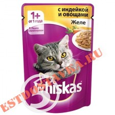 "Корм ""Whiskas"" Желе с индейкой с овощами для кошек 85г"