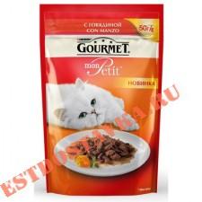 """Корм """"Gourmet"""" Mon Petit консервированный для взрослых кошек с говядиной 50г"""
