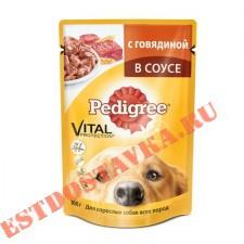 """Корм """"Pedigree"""" говядина в соусе для взрослых собак 100г"""