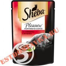 "Корм ""Sheba"" Pleasure говядина и ягненок для кошек 85г"