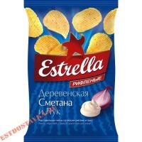 """Чипсы """"Estrella"""" картофельные рифленые со вкусом сметаны и лука 125г"""