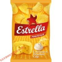 """Чипсы """"Estrella"""" картофельные рифленые со вкусом сметаны и сыра 125г"""