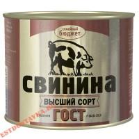 """Свинина """"Семейный Бюджет"""" тушеная Гост 500г"""
