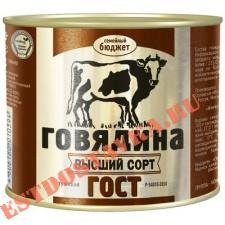 """Говядина """"Семейный Бюджет"""" тушеная Гост в/с 500г"""