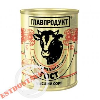 """Купить Говядина """"Главпродукт"""" тушеная Высший Сорт 338г"""