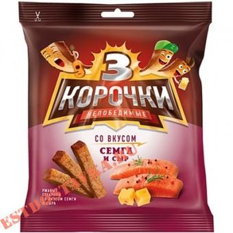 """Купить Сухарики """"Три Корочки"""" Ржаные со вкусом сыра и семги 40г"""