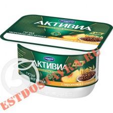 """Биопродукт """"Активиа"""" Творожная Персик 3 злака и льняные семена 4.4% 130г"""