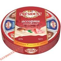 """Сыр """"President"""" плавленый ассорти 45% 140г"""