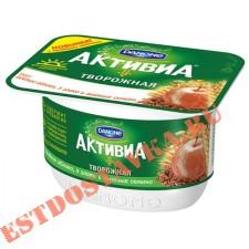 """Биопродукт творожный """"Активиа"""" печеное яблоко, 3 злака, льняные семена 130г"""