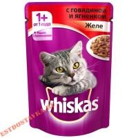 """Корм """"Whiskas"""" желе с говядиной и ягненком для взрослых кошек 85г"""