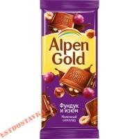 """Шоколад """"Alpen Gold"""" молочный с фундуком и изюмом 90г"""