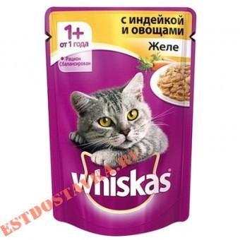 """Купить Желе """"Whiskas"""" индейка с овощами 85г"""