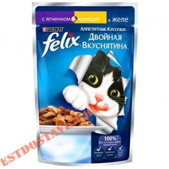 """Купить Корм """"Felix"""" Аппетитные Кусочки консервированный для взрослых кошек, с ягненком и курицей, в желе 85г"""