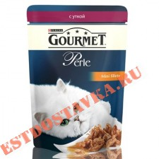 """Корм """"Gourmet"""" Perle С уткой для кошек 85г"""