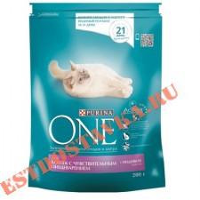 """Корм """"Purina One"""" для взрослых кошек с чувствительным пищеварением и разборчивым вкусом индейка/рис сухой 200г"""