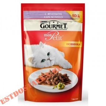"""Купить Корм """"Gourmet"""" Mon Petit консервированный для взрослых кошек с ягненком 50г"""