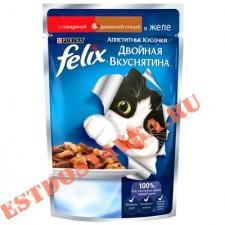"""Корм """"Felix"""" Аппетитные Кусочки Двойная Вкуснятина, для взрослых кошек с говядиной и домашней птицей, в желе 85г"""