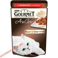 "Корм ""Gourmet"" A la Carte говядина, морковь, томаты, цукини для кошек 85г"