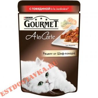 """Купить Корм """"Gourmet"""" A la Carte говядина, морковь, томаты, цукини для кошек 85г"""