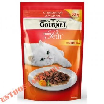 """Купить Корм """"Gourmet"""" Mon Petit консервированный для взрослых кошек с говядиной 50г"""