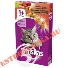 """Корм """"Whiskas"""" Вкусные Вкусные подушечки с паштетом Ассорти с говядиной и кроликом для взрослых кошек 350г"""