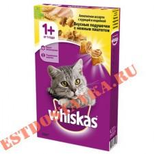"""Корм """"Whiskas"""" Вкусные Подушечки паштет курица-индейка, для взрослых кошек 350г"""