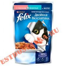 """Корм """"Felix"""" Аппетитные Кусочки для взрослых кошек консервированный полнорационный с лососем и форелью, в желе 85г"""