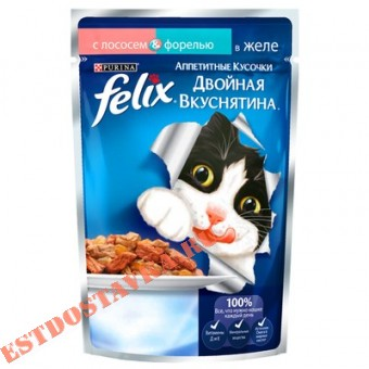 """Купить Корм """"Felix"""" Аппетитные Кусочки для взрослых кошек консервированный полнорационный с лососем и форелью, в желе 85г"""