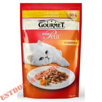 """Купить Корм """"Gourmet"""" Mon Petit консервированный для взрослхы кошек с курицей 50г"""