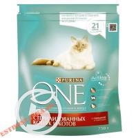"""Корм """"Purina One"""" Говядина и пшеница для стерилизованных кошек и котов 750г"""