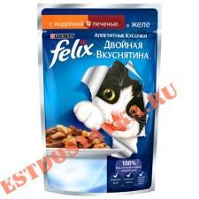 """Корм """"Felix"""" Аппетитные Кусочки консервированный для взрослых кошек, с индейкой и печенью, в желе 85г"""