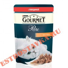 """Корм """"Gourmet"""" Perle С говядиной для кошек 85г"""