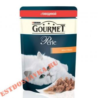 """Купить Корм """"Gourmet"""" Perle С говядиной для кошек 85г"""