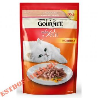 """Купить Корм """"Gourmet"""" Mon Petit консервированный для взрослых кошек с лососем 50г"""
