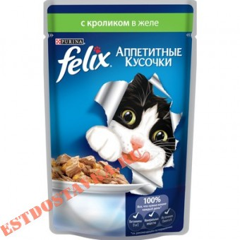 """Купить Корм """"Felix"""" Аппетитные Кусочки консервированный полнорационный с кроликом в желе 85г"""