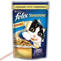 """Корм """"Felix"""" Sensations полнорационный Курица в желе с морковью 85г"""