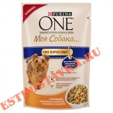 "Корм ""Purina One"" Моя Собака консервированный курица/рис/томатами в подливе 100г"