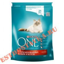 """Корм """"Purina One"""" для стерилизованных/кастрированных кошек cо вкусом лосося, пшеницы, тунеца 200г"""
