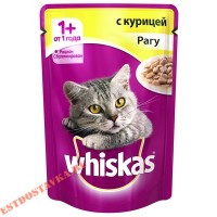 "Корм ""Whiskas"" рагу с курицей для взрослых кошек 85г"